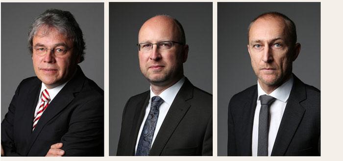 v.l.: Rechtsanwälte Ekkehard Sebening, Marcus Henke, Reiner Wötzel