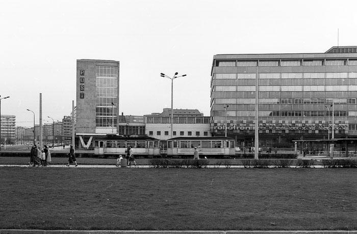 Karl-Marx-Stadt, Chemnitz, Zentralhaltestelle, Post, 80er, 80ies, DDR, GDR, Deutsche Demokratische Republik, Straßenbahn,
