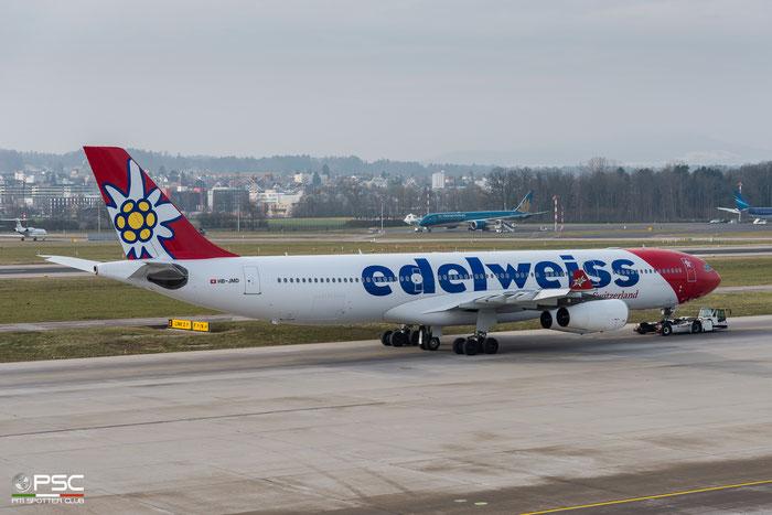 HB-JMD  A340-313E  556  Edelweiss Air  @ Zurich 2019 © Piti Spotter Club Verona