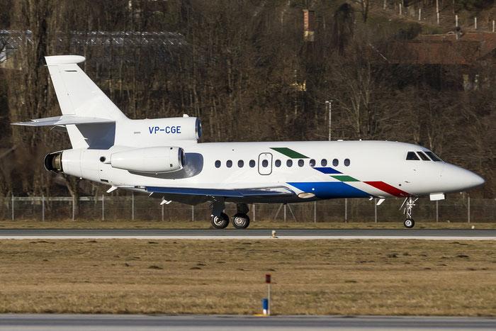 VP-CGE Falcon 900EX 73 VW Air Services - Volkswagen @ Innsbruck Airport 29.12.2015 © Piti Spotter Club Verona