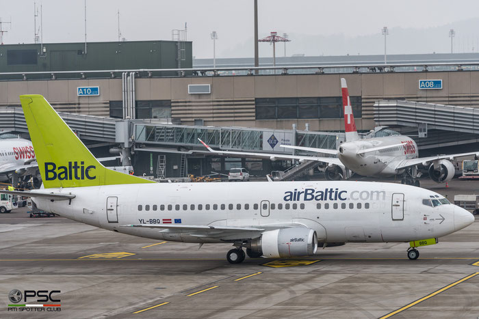 YL-BBQ B737-522 26691/2408 airBaltic @ Zurich Airport 21.01.2017 © Piti Spotter Club Verona