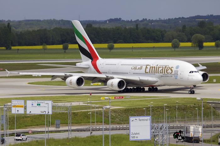 A6-EEN A380-861 135 Emirates @ Munich Airport 15.05.2016 © Piti Spotter Club Verona