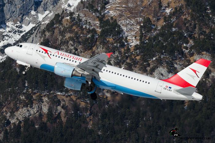 OE-LBV A320-214 1385 Austrian Airlines @ Innsbruck Airport 28.01.2017 © Piti Spotter Club Verona