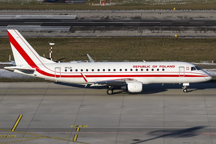 SP-LIH ERJ175LR 17000288 Government of Poland @ Zurich Airport 21.01.2016 © Piti Spotter Club Verona