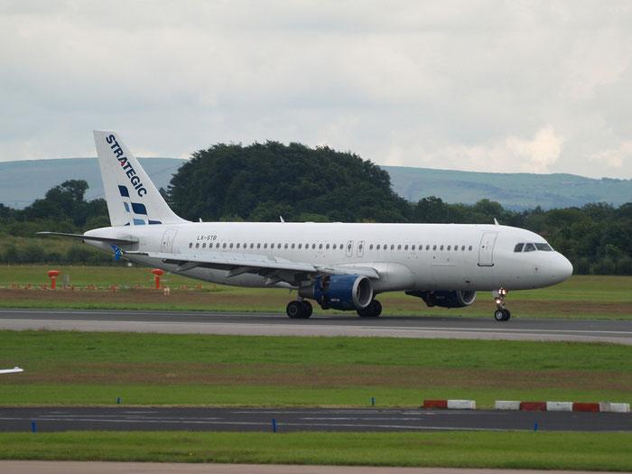 LX-STB A320-211 436 Strategic Airlines @ Manchester Airport 20.07.2012 © Piti Spotter Club Verona