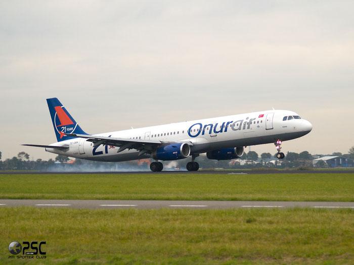 TC-OBK A321-231 792 Onur Air @ Amsterdam Airport 20.09.2013 © Piti Spotter Club Verona