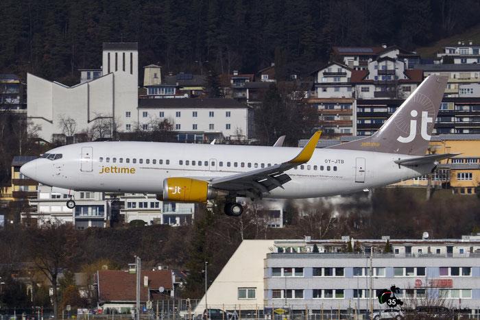 OY-JTB B737-3Y0 24464/1753 Jet Time @ Innsbruck Airport 09.01.2016 © Piti Spotter Club Verona
