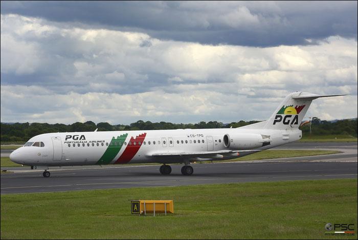 CS-TPD Fokker 100 11317 PGA Portugalia Airlines @ Manchester Airport 21.06.2015 © Piti Spotter Club Verona