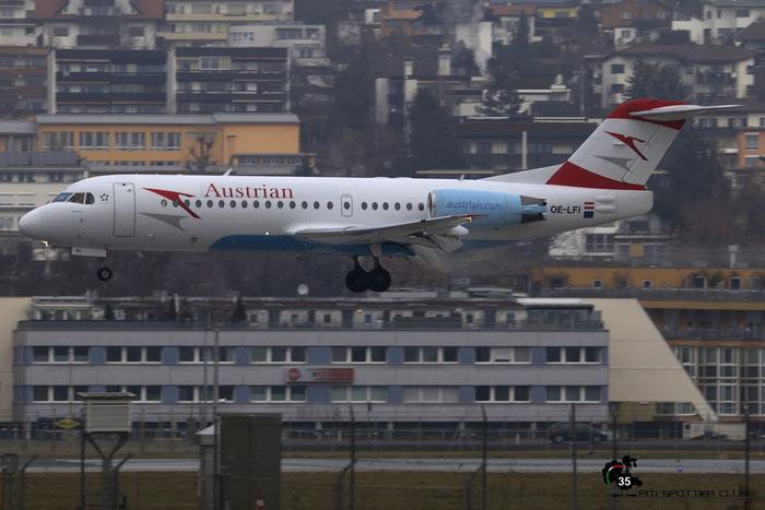 OE-LFI Fokker 70 11529 Austrian Airlines @ Innsbruck Airport 09.01.2016 © Piti Spotter Club Verona