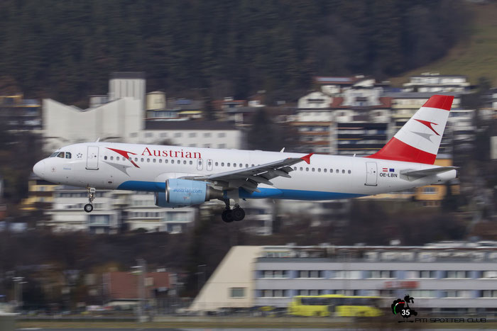 OE-LBN A320-214 768 Austrian Airlines @ Innsbruck Airport 09.01.2016 © Piti Spotter Club Verona