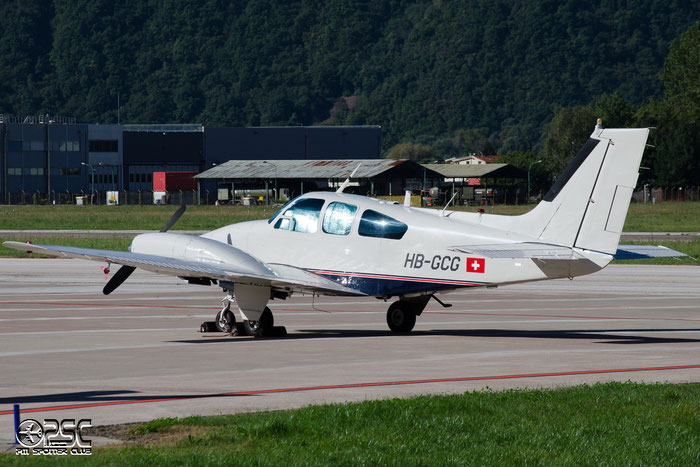 HB-GCG Beech 95-55 Baron BE55 TC-76 - Hastoy Arnaud @ Aeroporto di Bolzano © Piti Spotter Club Verona