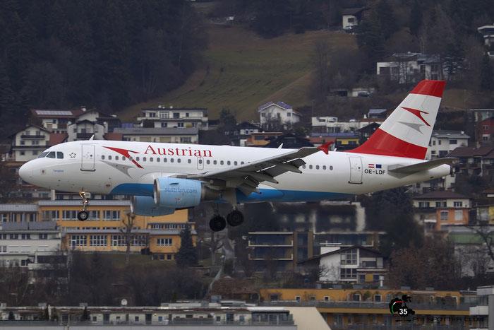OE-LDF A319-112 2547 Austrian Airlines @ Innsbruck Airport 09.01.2016 © Piti Spotter Club Verona