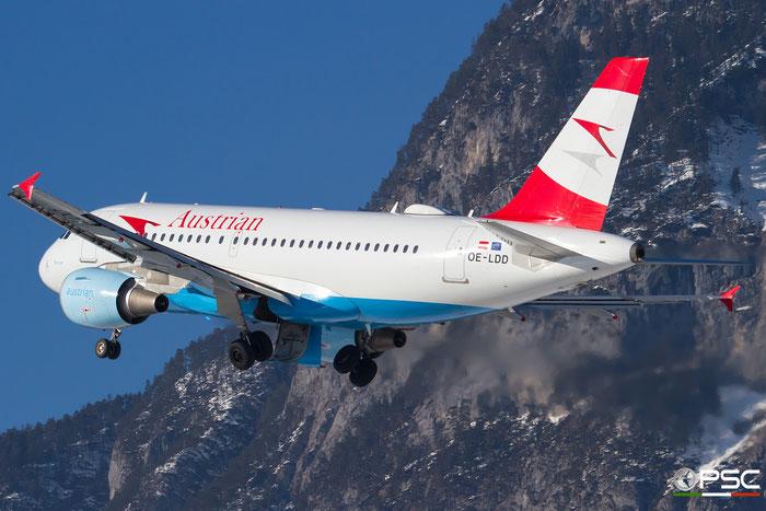 OE-LDD A319-112 2416 Austrian Airlines @ Innsbruck Airport 27.01.2018 © Piti Spotter Club Verona