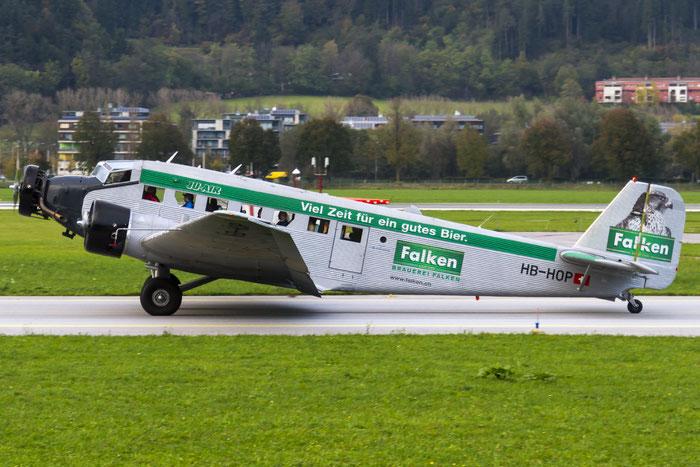 HB-HOP Ju-Air Junkers Ju-52/3m · Ju-Air @ Innsbruck Airport 10.2014 © Piti Spotter Club Verona