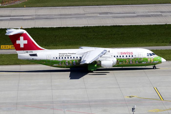 HB-IYS BAe146-RJ100 E3381 Swiss Global Air Lines @ Zurich Airport 05.2016 © Piti Spotter Club Verona