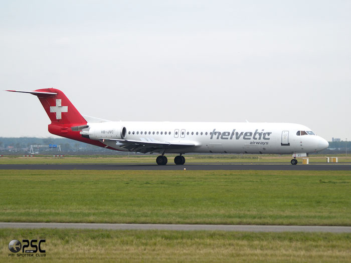 HB-JVC Fokker 100 11501 Helvetic Airways @ Amsterdam Airport 20.09.2013 © Piti Spotter Club Verona