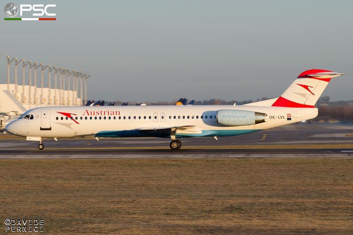 OE-LVL Fokker 100 11404 Austrian Airlines @ Munich Airport 13.12.2015 © Piti Spotter Club Verona