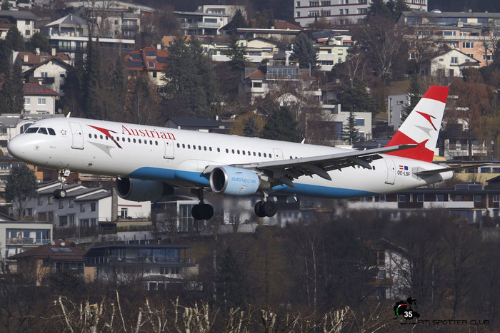 OE-LBF A321-211 1458 Austrian Airlines @ Innsbruck Airport 09.01.2016 © Piti Spotter Club Verona
