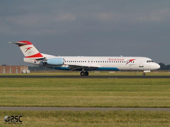 OE-LVJ Fokker 100 11359 Austrian Airlines @ Amsterdam Airport 20.09.2013 © Piti Spotter Club Verona