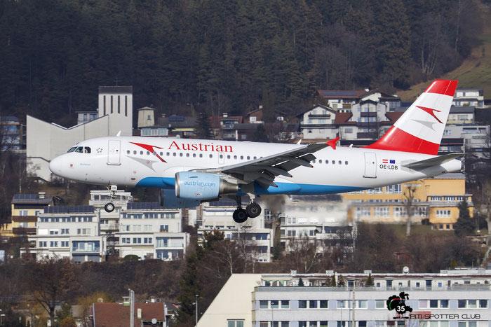 OE-LDB A319-112 2174 Austrian Airlines @ Innsbruck Airport 09.01.2016 © Piti Spotter Club Verona