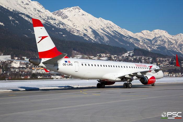OE-LWG ERJ195LR 19000464 Austrian Airlines @ Innsbruck Airport 27.01.2018 © Piti Spotter Club Verona