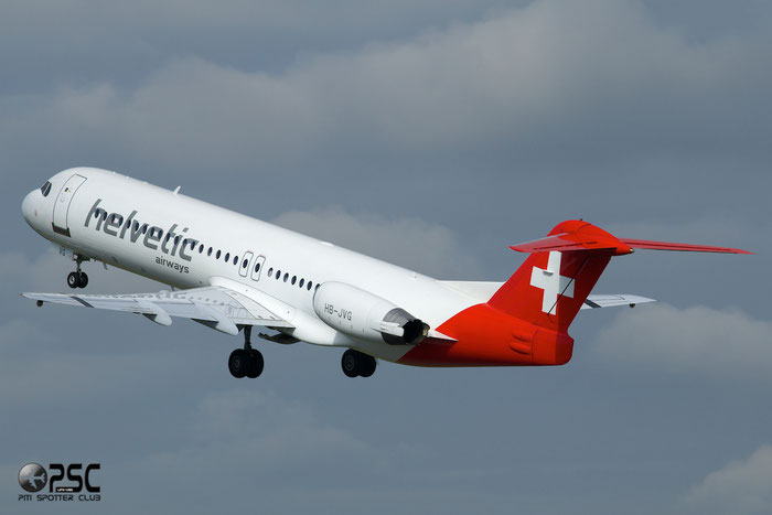 HB-JVG Fokker 100 11478 Helvetic Airways @ Manchester Airport 13.05.2014 © Piti Spotter Club Verona