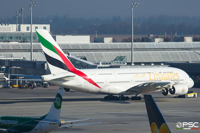 A6-EER A380-861 139 Emirates @ Munich Airport 14.02.2017 © Piti Spotter Club Verona