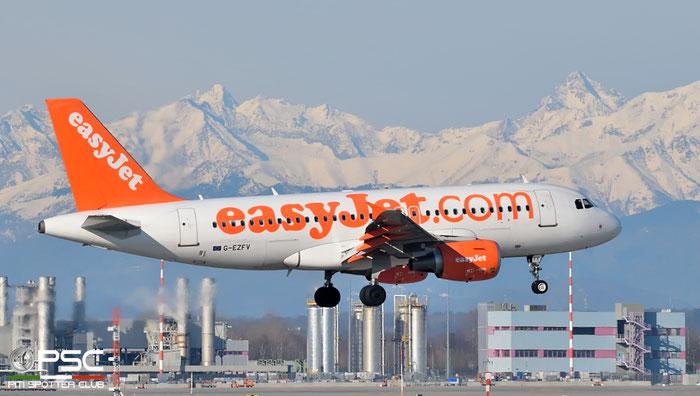 G-EZFV A319-111 4327 EasyJet Airline @ Milano Malpensa Airport 20.02.2016  © Piti Spotter Club Verona