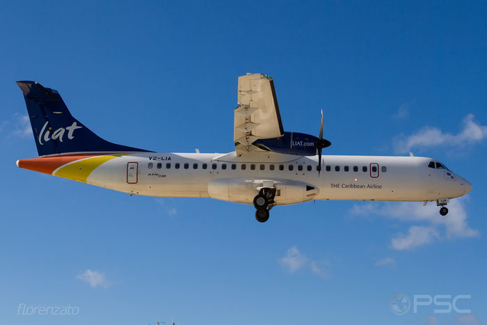 V2-LIA ATR72-212A 1077 LIAT - Leeward Islands Air Transport Services @ Sint Maarten Airport 09.04.2016 © Piti Spotter Club Verona