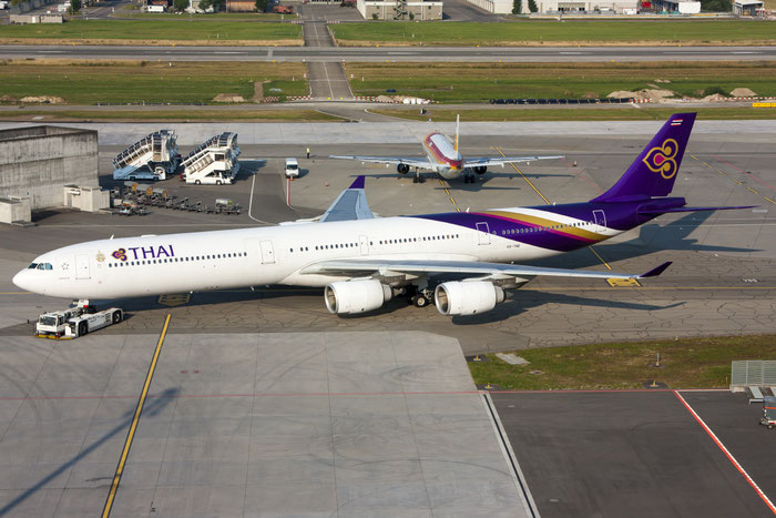 HS-TNB A340-642 681 Thai Airways International @ Zurich Airport 20.07.2013 © Piti Spotter Club Verona