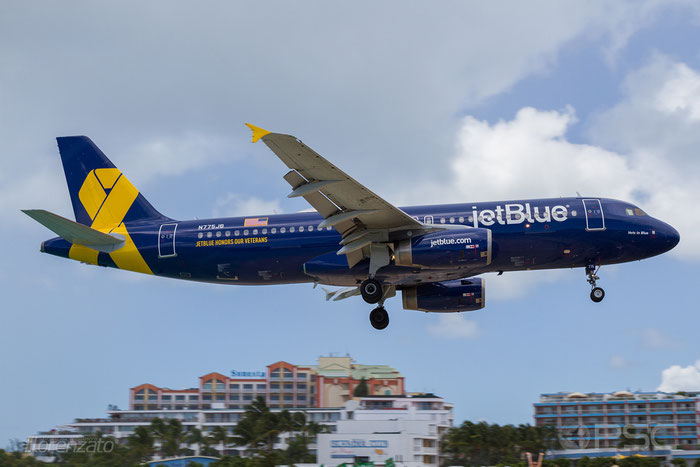 N775JB A320-232 3800 JetBlue Airways @ Sint Maarten  Airport 09.04.2016 © Piti Spotter Club Verona