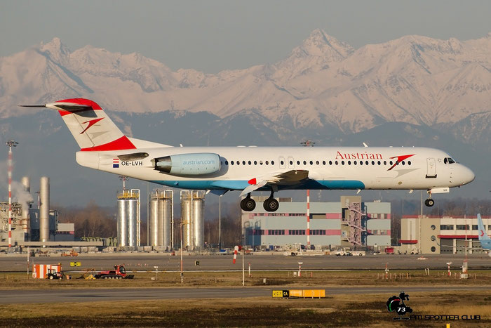 OE-LVH Fokker 100 11456 Austrian Airlines @ Milano Malpensa Airport 22.02.2016 © Piti Spotter Club Verona