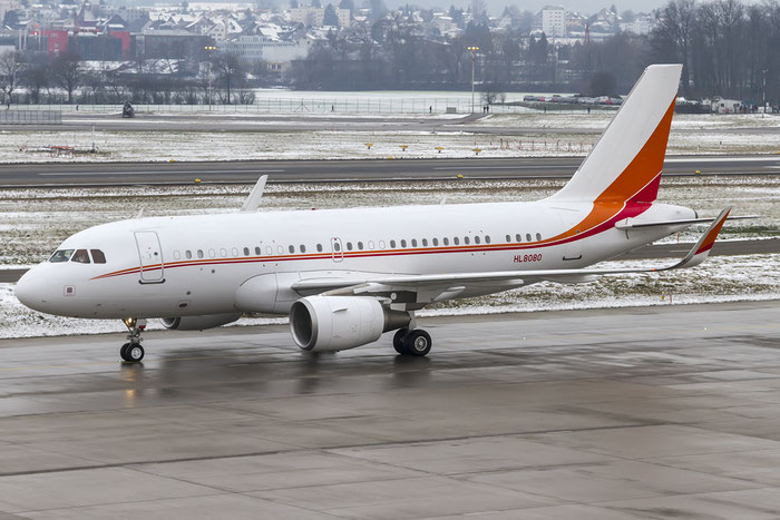 HL8080 A319-115 (ACJ) 5768 SK Telecom @ Zurich Airport 19.01.2016 © Piti Spotter Club Verona