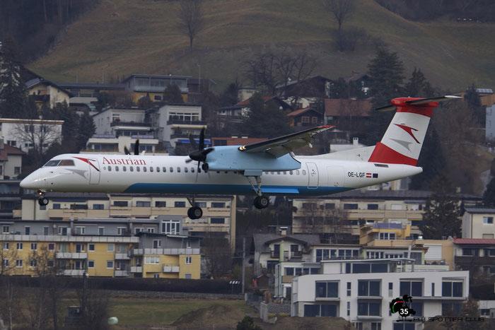 OE-LGF DHC-8-402 4068 Austrian Airlines @ Innsbruck Airport 09.01.2016 © Piti Spotter Club Verona