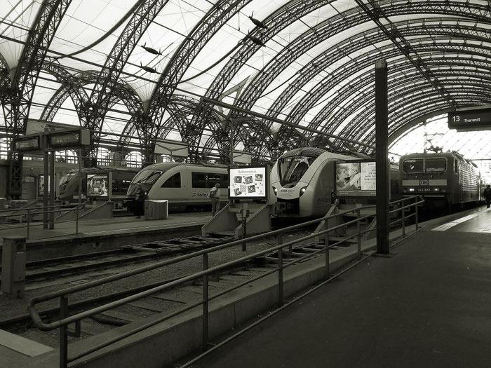 Bunter Nahverkehrs-Mix vor grauer Kulisse: Trilex, MRB und DB Regio.