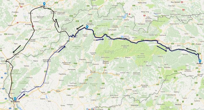 Am Tage von Košice über Hranice na Moravě nach Bratislava und mit dem Nachtzug zurück.