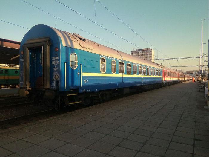 Der Schlafwagen nach Kiew wird in Košice abgehangen.