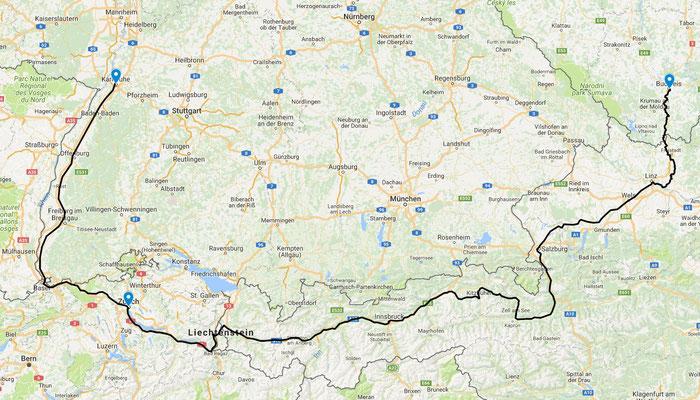 Von Karlsruhe nach Zürich und weiter im Nachtzug nach České Budějovice