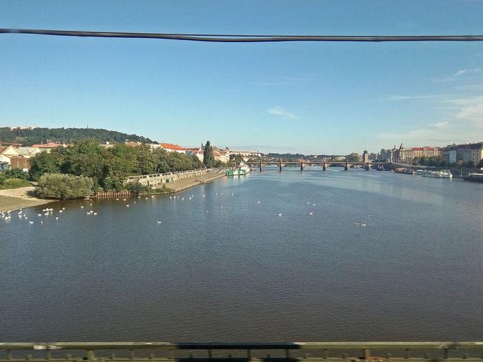 Fahrt über die Moldau in Prag