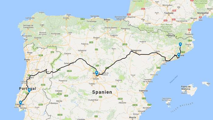 Ein Ausflug nach Entroncamento, mit dem Nachtzug bis Madrid und weiter nach Katalonien