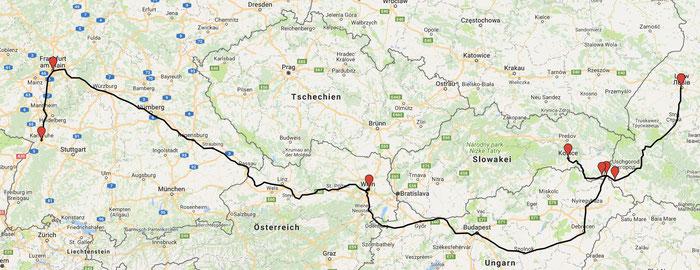 Von Košice nach Lviv und dann über Wien zurück nach Karlsruhe