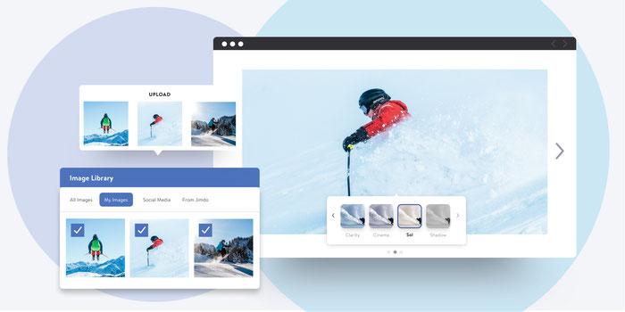 Photos sélectionnées dans la bibliothèque d'images d'un site Jimdo et mises en diaporama avec un filtre d'images