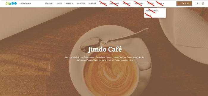 Site Jimdo Café avec une navigation raccourcie et des pages barrées