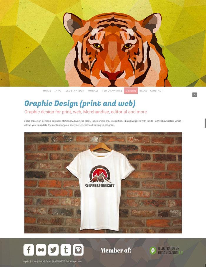 Le design Zurich est parfait pour les sites portfolio. Avec un large corps de site et une sidebar en bas de page, il peremt de mettre bien en avant votre contenu. Exemple avec ce site Jimdo : felicevagabonde.com