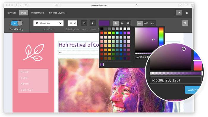 Capture d'ecran d'un site Jimdo ou la selection de couleur est en cours