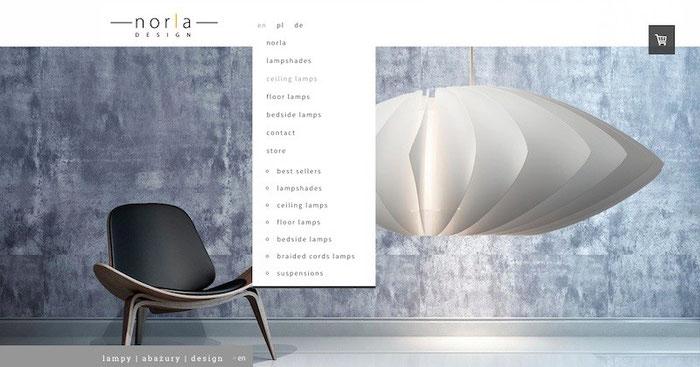 Cet exemple d'E-boutique Jimdo Noria Design fait une bonne utilisation du design Rome avec son menu déroulant et sa large zone de contenu.
