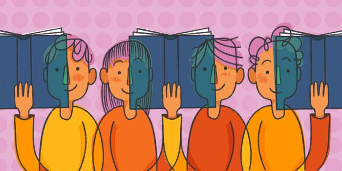 Quatre personnes lisant un livre en même temps