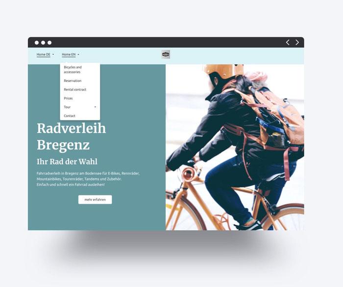 Page d'accueil du site multilingue de l'entreprise de location de vélos Radverleih Bregenz