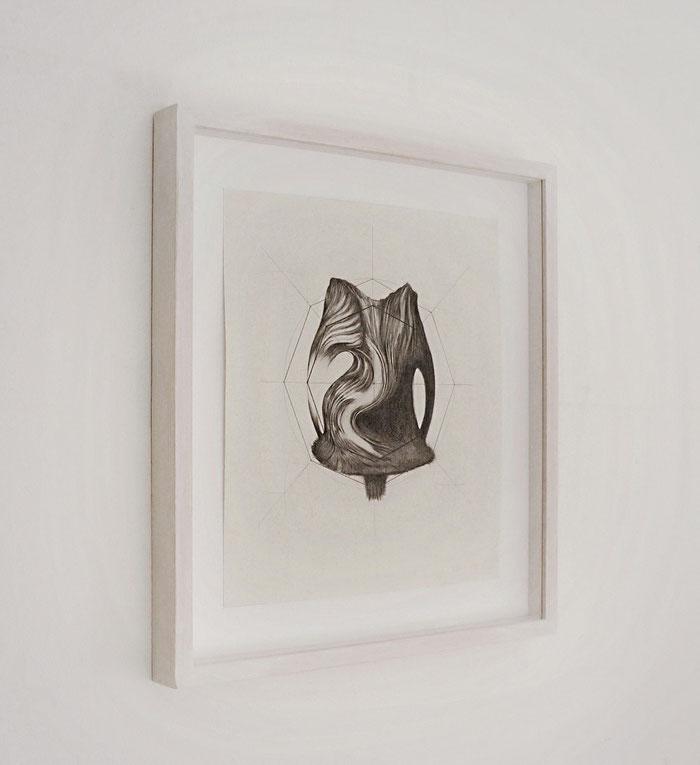 Lateral view, Distanze Entropiche 2017 graphite on paper with frame, cm 35 x 39