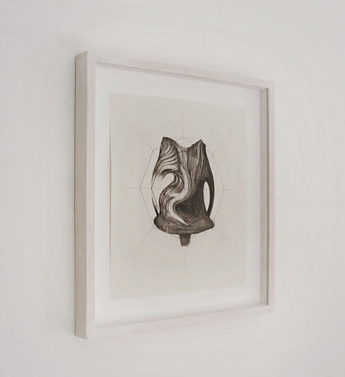 Side installation view, Distanze Entropiche, 2016, graphite on paper with frame, cm 35 x 39